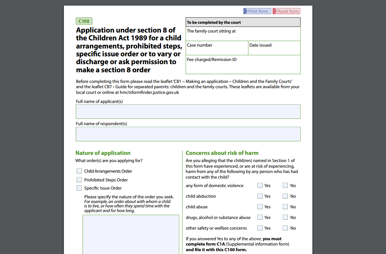 What is the C100 Form and How is it Used in Family Law Courts?